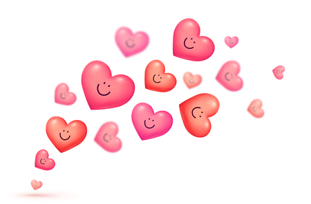 Red and pink floating smiling hearts Valentines day vector greeting card background.
