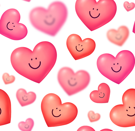 Glossy pink and read vector smiling hearts Valentines day vector seamless pattern tile.