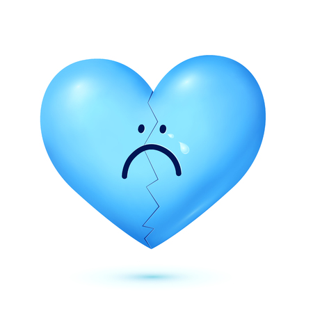 Sad face blue vector crying heart character isolated on white background. Иллюстрация