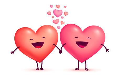 Two happy laughing holding hands cute lovely hearts, vector Valentines day greeting cart elements isolated on white background