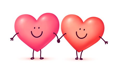 Couple of happy hearts smiling and holding hands, vector Valentines day greeting card elements.