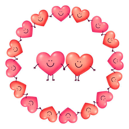 Round vector frame of holding hands hearts with happy couple in the middle, Valentines day greeting card template.