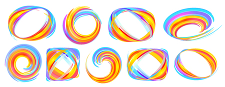 Vivid colors orange and blue lines vector abstract frames set isolated on white background
