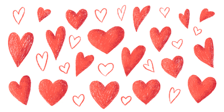 Red pencil strokes texture hand drawn style vector Valentines day hearts big set isolated on white background. Иллюстрация