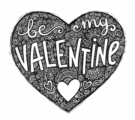 Black grunge heart shape with doodle ornament and hand drawn lettering Be My Valentine. Vector Valentines Day design element isolated on white background.