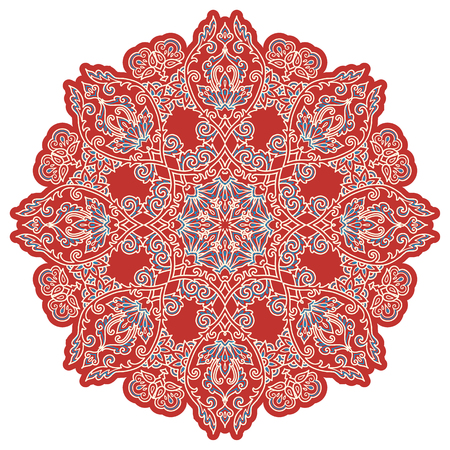 Red and blue Turkish style vintage vector mandala isolated on white background.