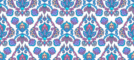 Moroccan style blue lineart traditional Turkish floral ornament on white background, vector seamless pattern tile. Иллюстрация