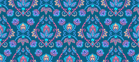 Textile and wall traditional Turkish floral colorful ornament on blue background, vector seamless pattern tile.