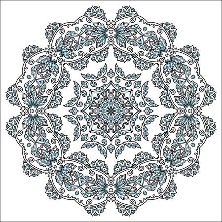 Turkish floral line art mandala in doodle style, vector hand drawn design element. Ilustração