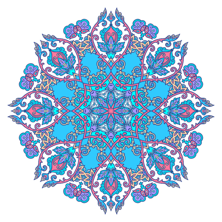 Blue floral circle mandala in Turkish arabesque style, vintage art design element isolated on white background. Иллюстрация