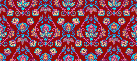 Vintage textile and wall traditional Turkish floral colorful ornament on purple background, vector seamless pattern tile.
