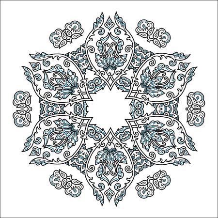 Vintage style vector mandala isolated on white background.