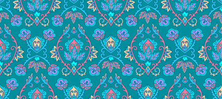 Green vintage Islamic floral ornament style vector seamless pattern tile. Иллюстрация