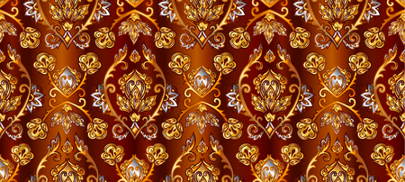 Brown and golden damask luxury vector seamless pattern tile.