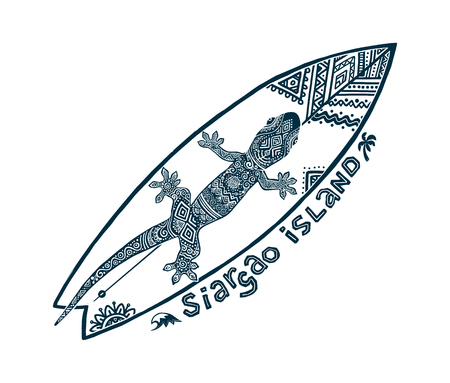 Doodle tribal tattoo style vector surfboard with ornate gecko on it and sign Siargao island. Symbol of Philippines surfing