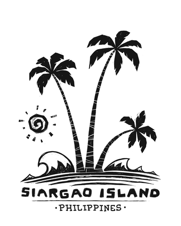 Grunge engraving style vector palm trees silhouette with sun and sign Siargao island, Philippines
