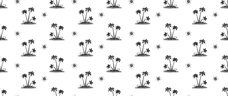 Black hand drawn palm trees on white background, vector tropic seamless pattern tile.