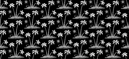 White hand drawn vector palm trees and waves on black background - tropic seamless pattern tile. Иллюстрация