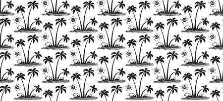 Engraving style black hand drawn vector palm trees and waves on white background tropic seamless pattern tile.
