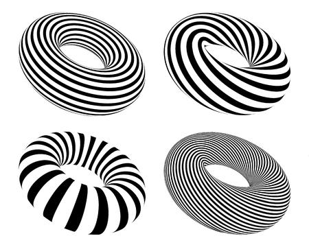 Zestaw czarno-białych pasiastych torusów, wektor zestaw abstrakcyjnych pączków na białym tle