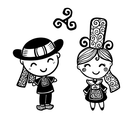 Breton kids in traditional breton bigouden costumes black and white vector illustration