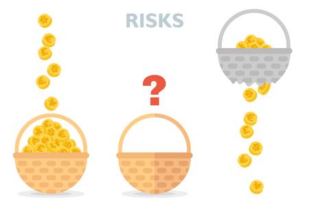 Nunca ponga todos los huevos en una canasta ilustración vectorial de diversificación de riesgos Ilustración de vector