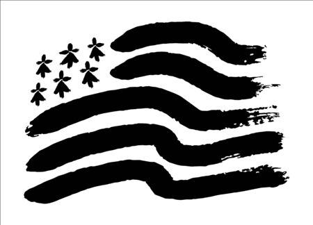 Hand drawn painted black and white vector breton flag Gwen-ha-Du in painted grunge style