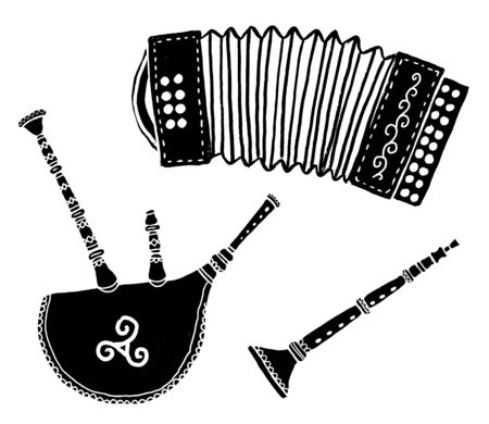 Set of traditional breton music instruments popular in France and Brittany: diatonic accordion, bineau koz - breton bagpipe and bombarde, vector grunge silhouettes on white background Çizim