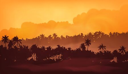 Palm trees silhouettes in yellow fog, tropic forest in sunset light vector illustration for banner background. Иллюстрация