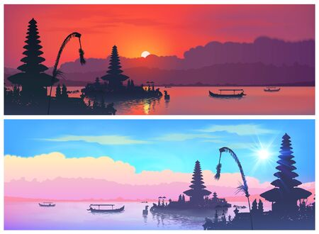 Set of vector travel banners with balinese landscapes of traditional Bali temple silhouettes and fisherman boats on sunset and sunrise sky background Ilustrace