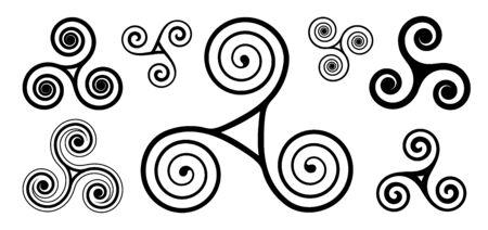 Black spiral vector celtic triskels set isolated on white background Vektoros illusztráció