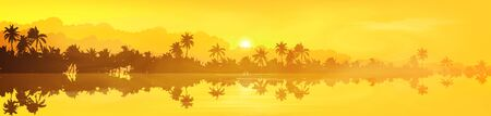 Yellow tropical island with palm trees silhouettes sunset or sunrise view in fog and clouds, vector banner illustration  イラスト・ベクター素材