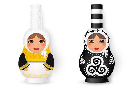 Due simpatiche matrioska - bambole tradizionali russe in stile bretone bigouden, illustrazione vettoriale isolato su sfondo bianco. Vettoriali
