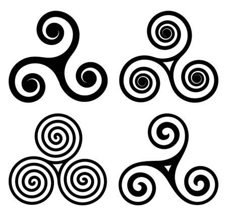 Símbolos traditonales negros irlandeses, bretones y escoceses, conjunto de vectores de triskels celtas. Triple espirales aislado sobre fondo blanco. Ilustración de vector