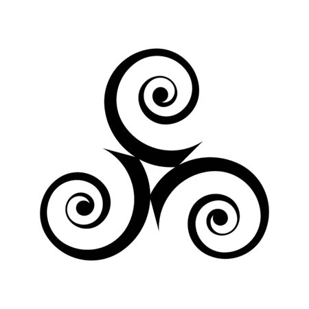 Black vector triple spirals - traditional celtic symbol in modern style isolated on white background