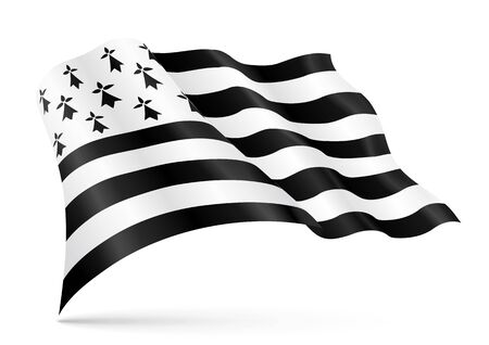 Weaving flag of Brittany, department of France. Vector realistic breton illustration isolated on white background