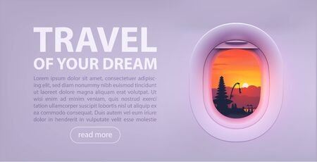 Colorful Bali temple sunset illustration in aircraft window with copyspace text - Travel Of Your Dream. Vector banner and poster template  イラスト・ベクター素材