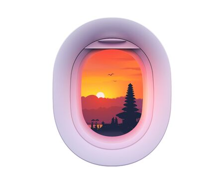 Single plane window with Asian landscape in it, colorful vector illustration isolated on white background  イラスト・ベクター素材