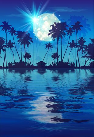 Shining full moon in blue night sky with dark coconut palm trees silhouettes and water reflection. Vector fullmoon party poster background  イラスト・ベクター素材