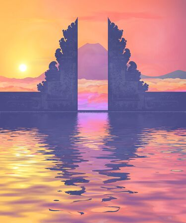 Colorful sunset view on Balinese temple portal silhouette, mountain view in clouds and water reflection. Vector illustration Illustration