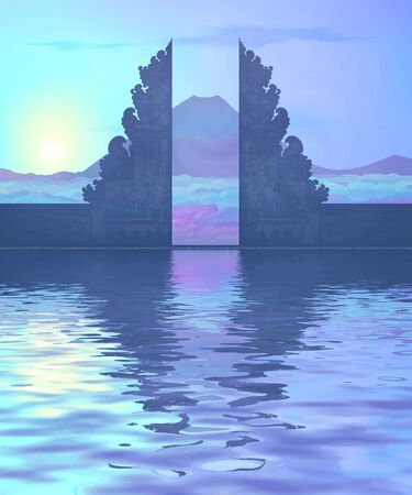 Blue vector Balinese temple portal sunrise silhouette with mountain and clouds view and water reflection