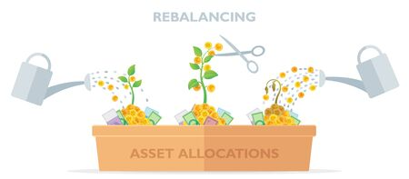 Flat style vector illustration of asset allocations and re-balancing: growing money trees with watering cans and scissors. Idea of cropping grown assets and filling of sagging assets