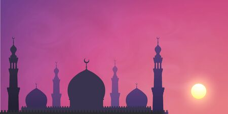 Dark mosque silhouette on violet sunset sky smoky background. Vector banner illustration