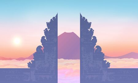 Morning sky with mountain and traditional balinese gate silhouette, vector illustration