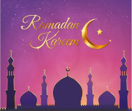 Dark violet mosque silhouette on pink smoky sky background. Vector banner illustration with golden sign Ramadan Kareem and crescent with star. Illustration