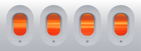 Red sunset sky view from aircraft windows without curtains, new technology portholes vector illustration