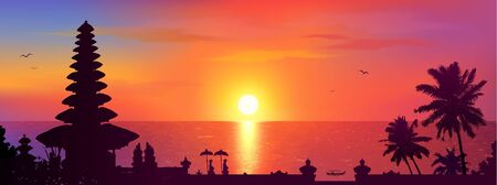 Traditional Balinese temple and palm trees silhouettes on colorful sunset background, Bali panorama view vector illustration Illustration