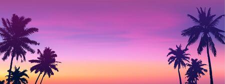 Dark palm trees silhouettes on sunset or sunrise background, vector panoramic bannet illustration Illustration