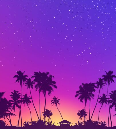 Violet starry sky and palm trees dark silhouettes vector tropic sunset background