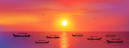 Bali fisherman boats in calm ocean at red sunset background, vector Kuta beach illustration